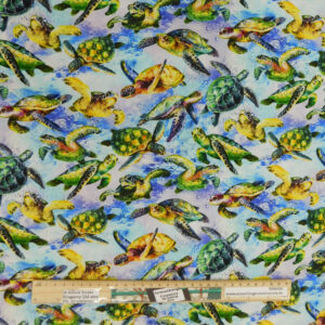 Quilting Sewing Fabric THE REEF TURTLES LIGHT Allover Material 50x55cm FQ
