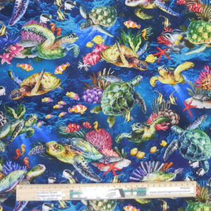 Quilting Sewing Fabric REEF SEA TURTLES DARK Allover Material 50x55cm FQ