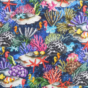 Quilting Sewing Fabric THE REEF CORAL Allover Material 50x55cm FQ