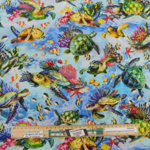 Quilting Sewing Fabric REEF SEA TURTLES LIGHT Allover Material 50x55cm FQ