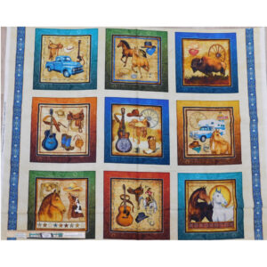 Patchwork Quilting Sewing Fabric WESTERN COUNTRY Panel 91x110cm