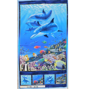 Patchwork Quilting Sewing Fabric DOLPHIN REEF Panel 62x110cm
