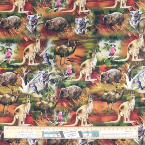 Quilting Patchwork Sewing Fabric AUSTRALIAN WILDLIFE VALLEY 50x55cm FQ New