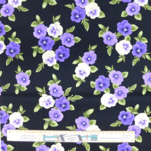 Quilting Patchwork Sewing Fabric PANSIES Allover Material 50x55cm FQ