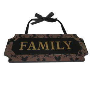 Country Wooden Carved Sign FAMILY with Ribbon Hanger