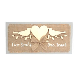 Country Farmhouse Love Sign TWO SOULS ONE HEART Canvas