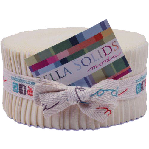 Quilting Fabric Moda Jelly Roll Bella NATURAL Solid Quilt 2.5 Inch