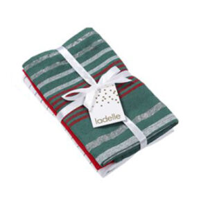 Ladelle Tea Towels GREEN STRIPE Assort Cotton Dish Cloths Set 3