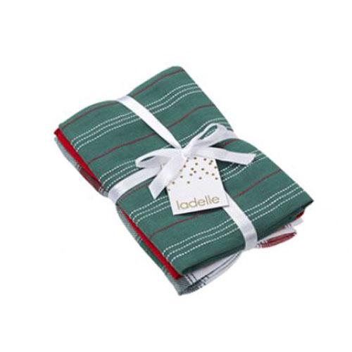 Ladelle Tea Towels GREEN CHECK Assort Cotton Dish Cloths Set 3