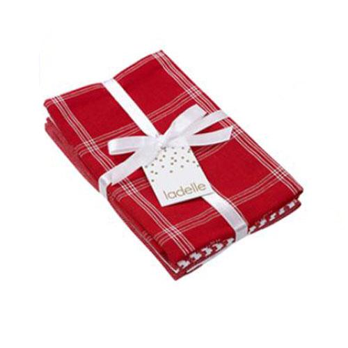 Ladelle Tea Towels RED CHECK Assort Cotton Dish Cloths Set 3