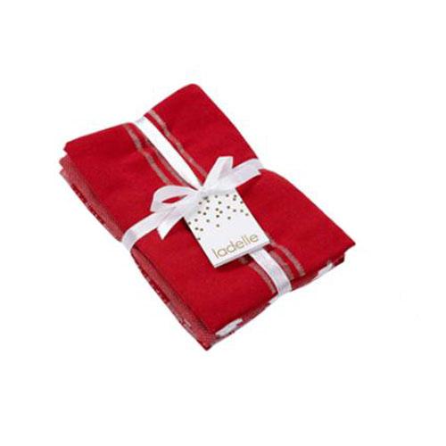 Ladelle Tea Towels RED STRIPE Assort Cotton Dish Cloths Set 3