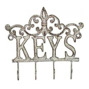 French Country Wall Art Keys Hooks Fleur De Lys Hanger Wrought Iron