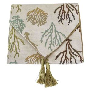 French Country Table Runner BEACH CORAL with Tassels 33x180cm