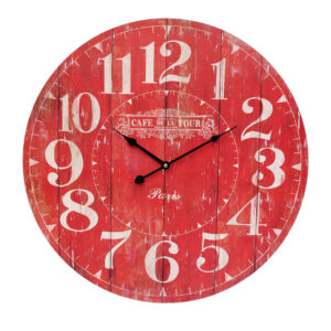 Clocks Wall Hanging CAFE DE LA TOUR RED Large Clock 58cm