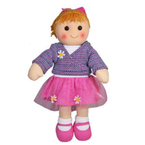 Hopscotch Lovely Soft Rag Doll ELENA Pink Skirt Doll Large 35cm