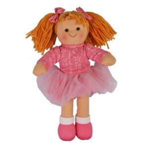 Lovely Soft Rag Doll EMMY Pink Skirt Girl Doll Medium 25cm