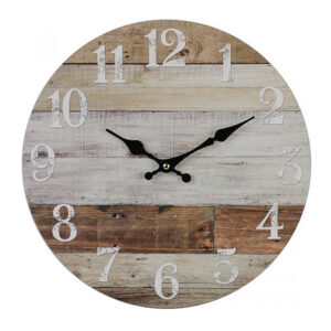 Clocks Wall Hanging WEATHERBOARDS BROWN Time Clock 34cm