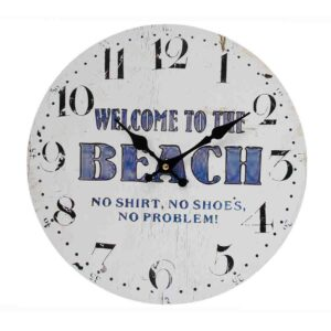 Clocks Wall Hanging WELCOME TO THE BEACH Time Clock 34cm