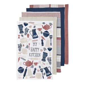 Ladelle Tea Towels HAPPY KITCHEN PASTEL Cotton Dish Cloths Set 5