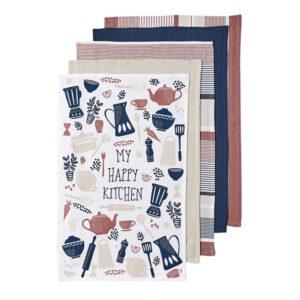 Ladelle Tea Towels HAPPY KITCHEN PASTEL Cotton Dish Cloths Set 5