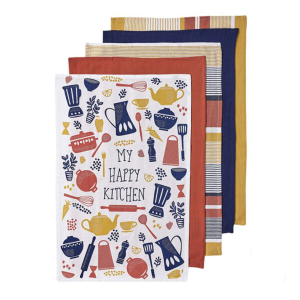 Ladelle Tea Towels HAPPY KITCHEN BRIGHT Cotton Dish Cloths Set 5
