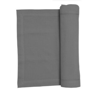 French Country Rans Table Runner HEMSTITCH GREY 33x180cm