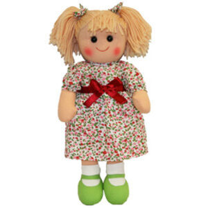 Hopscotch Lovely Soft Rag Doll JANE Red Bow Doll Large 35cm