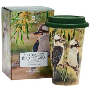 Ashdene Travel Tea Coffee Mug Cup Australian Birds Kookaburra