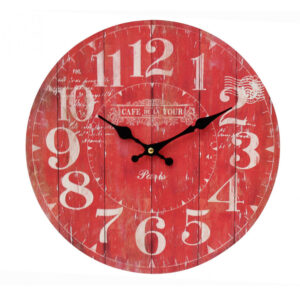 Clocks Wall Hanging CAFE DE LA TOUR RED Time Clock 34cm