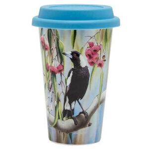 Ashdene Travel Tea Coffee Mug Cup Australian Birds Magpie