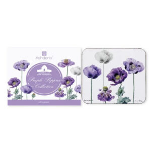 Ashdene Dining Kitchen Purple Poppies Cork Backed Coasters Set 4