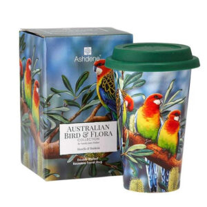Ashdene Travel Tea Coffee Mug Cup Australian Birds Rosella