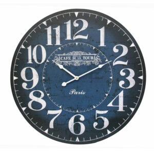 Clocks Wall Hanging CAFE DE LA TOUR NAVY BLUE Large Clock 58cm
