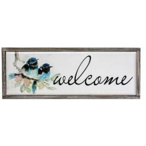 Country Farmhouse Blue Bird Framed Sign WELCOME