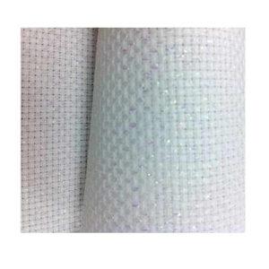 Cross Stitch SPARKLE WHITE Aida Cloth 14ct Size 55x30cm X Stitch Fabric