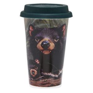 Ashdene Travel Tea Coffee Mug Cup Australian Fauna Tasmanian Devil