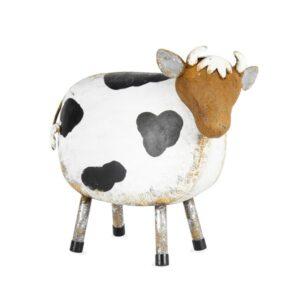Farmhouse Whitewash Metal Painted Cow Suitable for Garden Verandah