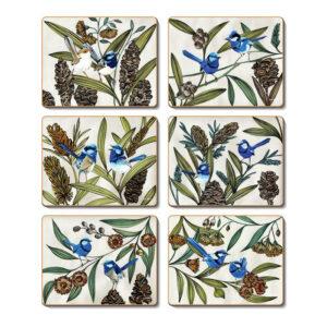 Country Kitchen BLUE WREN Cinnamon Cork Back Placemats Set 6
