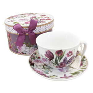 Elegant Kitchen Tea Cup and Saucer Set RED TULIP with Giftbox