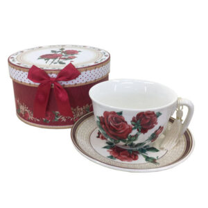 Elegant Kitchen Tea Cup and Saucer Set RED ROSES with Giftbox