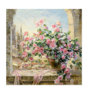 5D Diamond Painting Full Image Square Drills FLORAL WINDOW 40X40cm