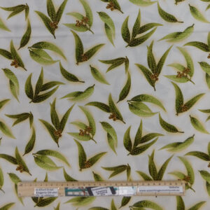 Quilting Sewing Fabric AUSTRALIAN GUM LEAVES IVORY Material 50x55cm FQ