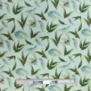 Quilting Sewing Fabric AUSTRALIAN GUM LEAVES APPLE Material 50x55cm FQ