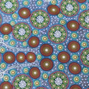 Quilting Sewing Fabric ABORIGINAL GATHERING BUSH TUCKER GREEN Material 50x55cm FQ