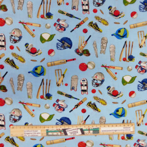 Quilting Sewing Fabric ALL ROUNDER CRICKET BLUE Material 50x55cm FQ