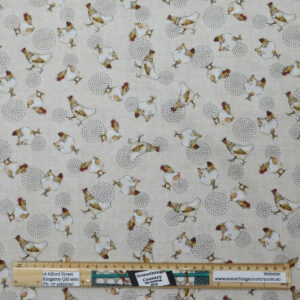 Quilting Sewing Fabric FARM LIFE CHICKENS Material 50x55cm FQ