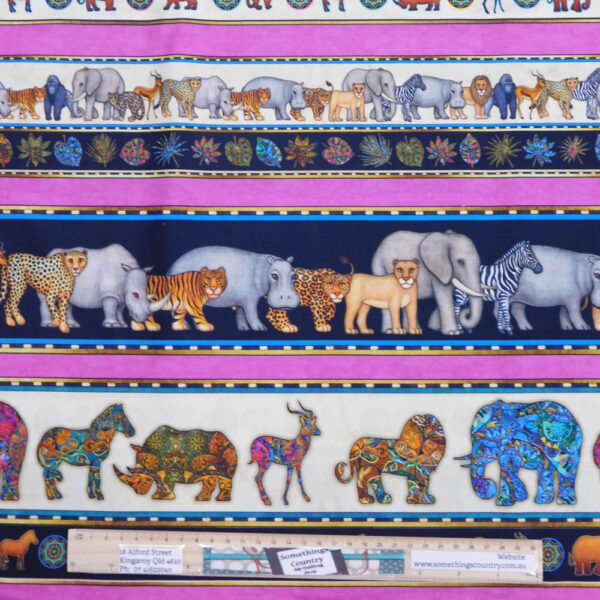 Quilting Sewing Fabric AFRICAN SERENGETI BORDER Material 50x55cm FQ