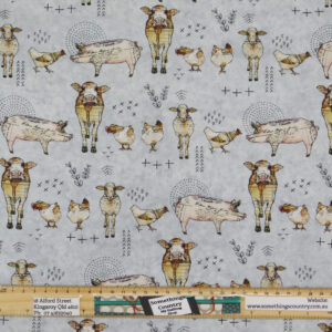 Quilting Sewing Fabric FARM LIFE ANIMALS Material 50x55cm FQ