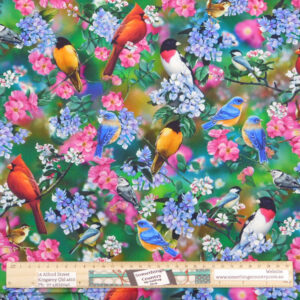 Quilting Sewing Fabric SONGBIRDS Allover Material 50x55cm FQ