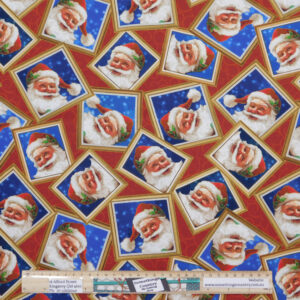Quilting Sewing Fabric SANTA CLAUS ALLOVER Material 50x55cm FQ